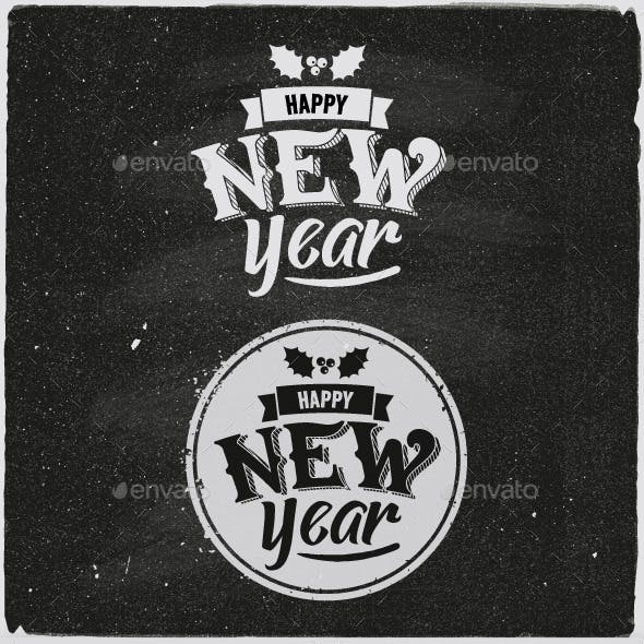 New Year Typographic Design Emblem