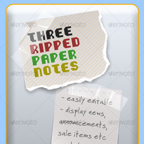 Three Ripped Paper Notes