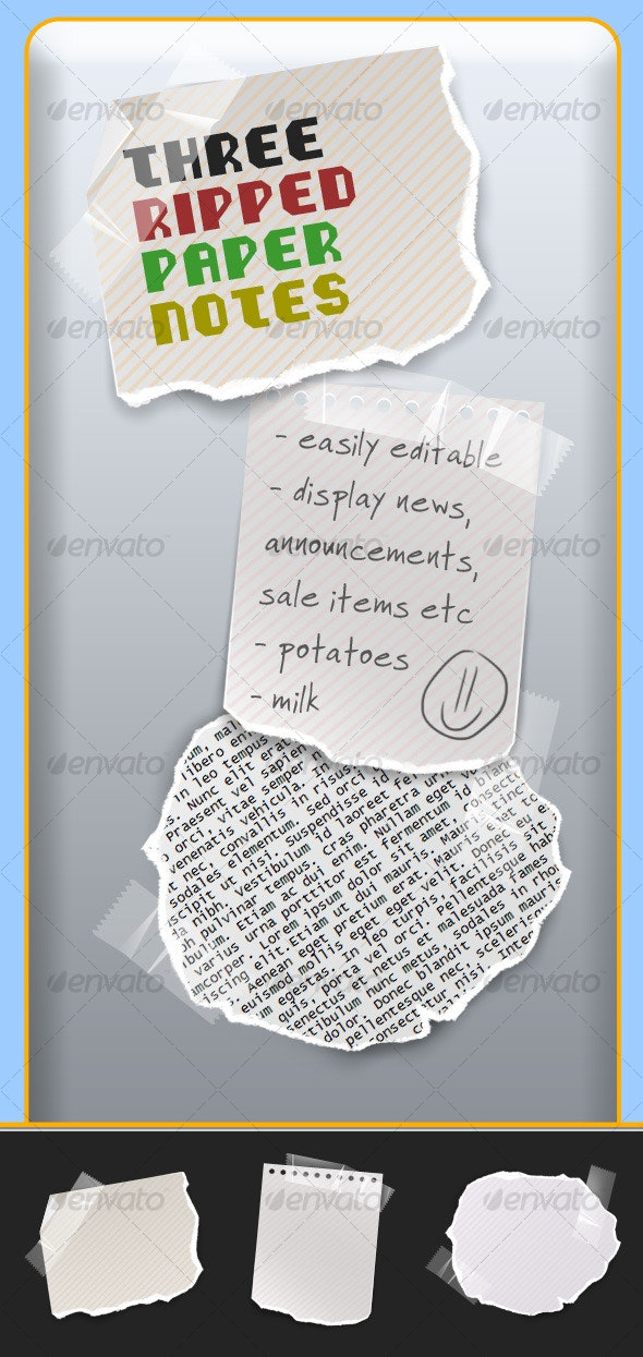 Three Ripped Paper Notes - Miscellaneous Web Elements