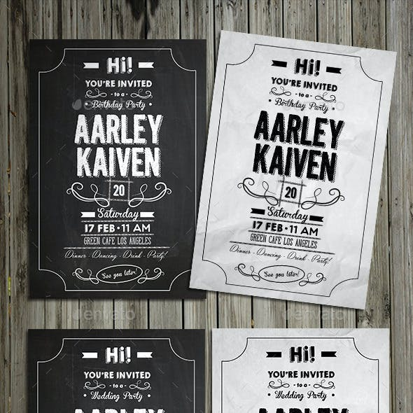 Black & White Chalkboard Invitation