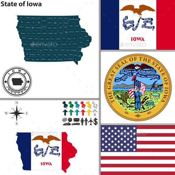 Map of State Iowa, USA