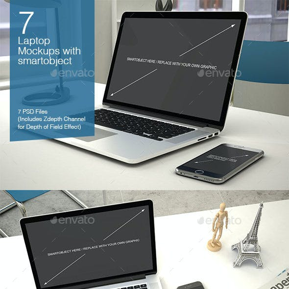 Laptop Mockup 7 Poses