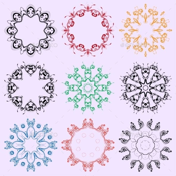 Set of Colored Round Ornaments