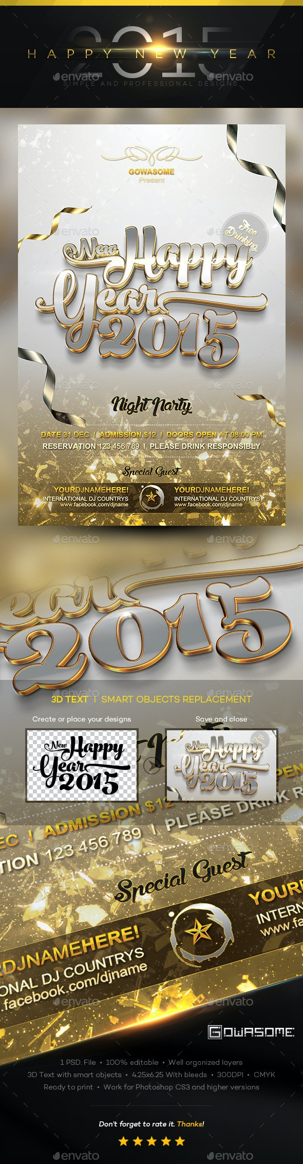 Happy New Year 2015 Flyer - Events Flyers