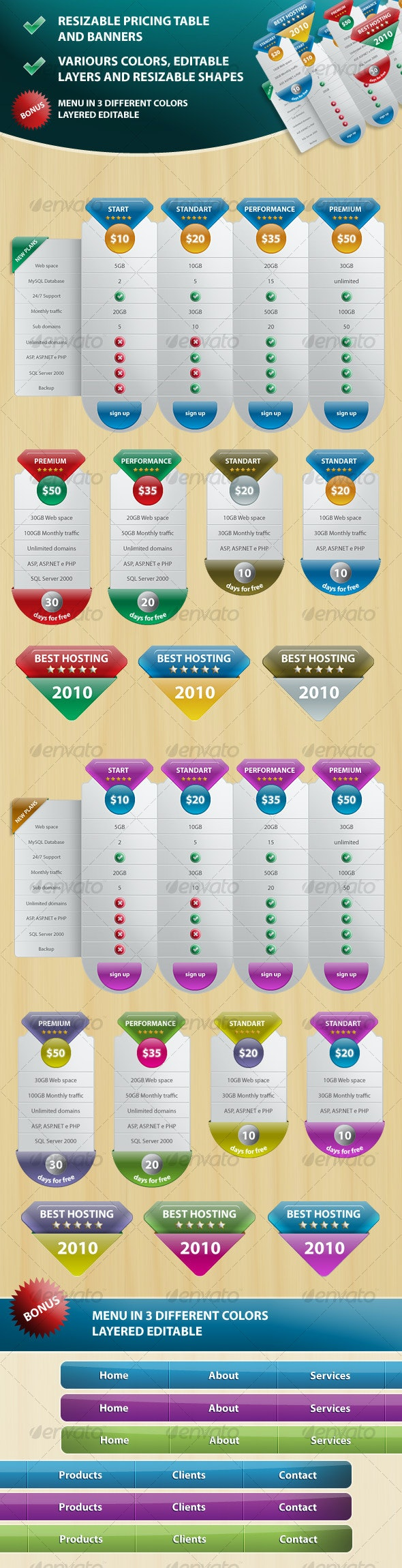 Pricing Table,  Banners and Navigation Menu - Miscellaneous Web Elements