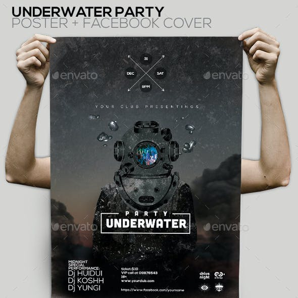 Party Underwater Poster/ Facebook Cover