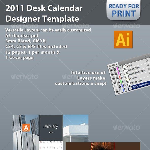 2011 Desk Calendar Designer Template