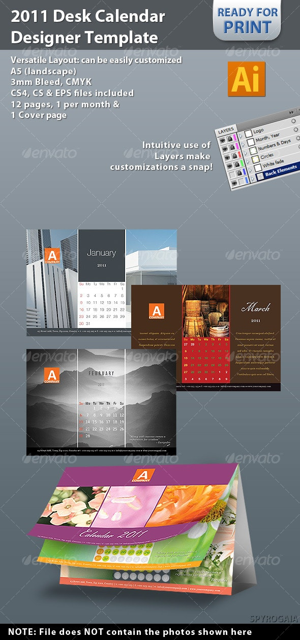 2011 Desk Calendar Designer Template - Calendars Stationery