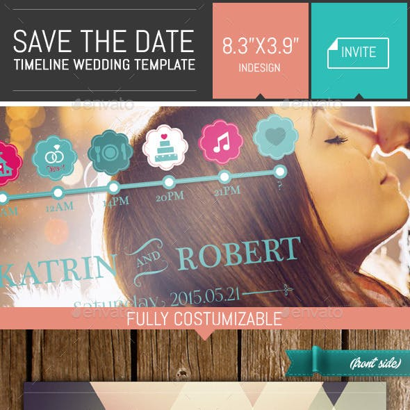 Save the Date - Timeline Wedding Invite Template