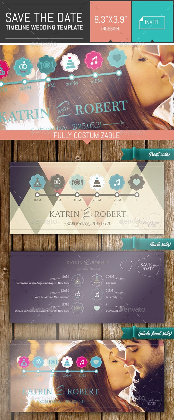 Save the Date - Timeline Wedding Invite Template - Weddings Cards & Invites