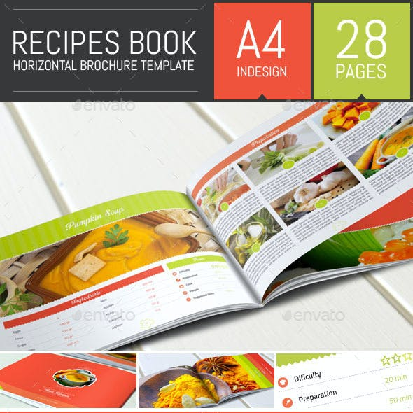 Recipes Book - Horizontal Brochure Template