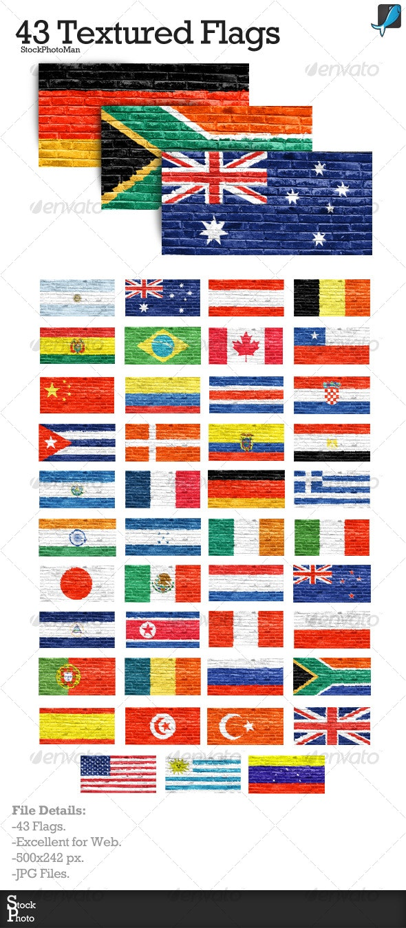 43 Textured Flags - Backgrounds Graphics