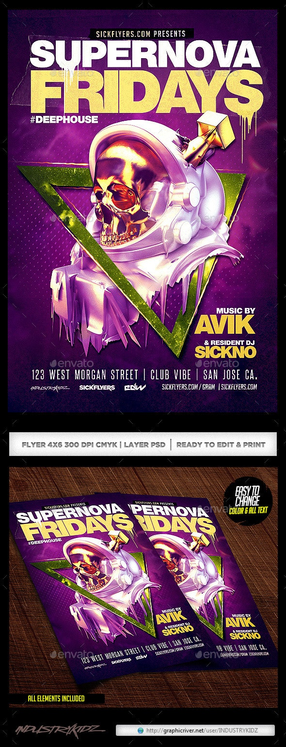 Supernova Electro Flyer Template - Clubs & Parties Events