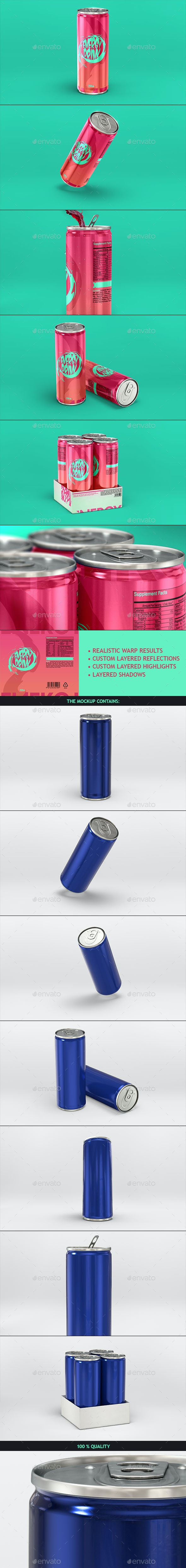Energy Drink Soda Can Mockup - Food and Drink Packaging