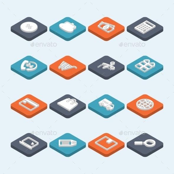 Shopping Icons Isometric - Business Icons