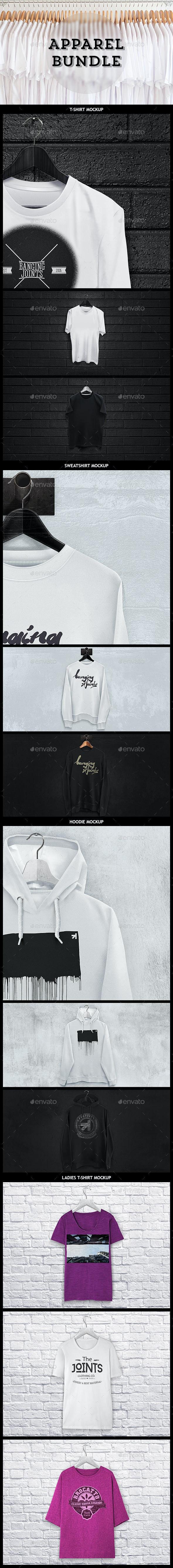 Apparel Mockup Bundle - T-shirt / Sweat / Hoodie  - Apparel Product Mock-Ups