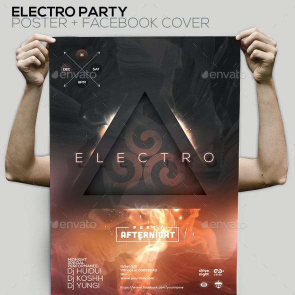 Electro Party Flyer/Poster/Facebook Cover