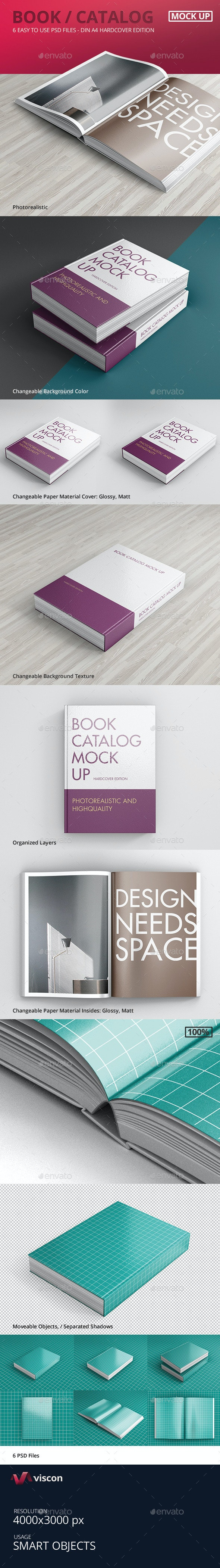 Book / Catalog Mock-Ups Hardcover Edition - Books Print