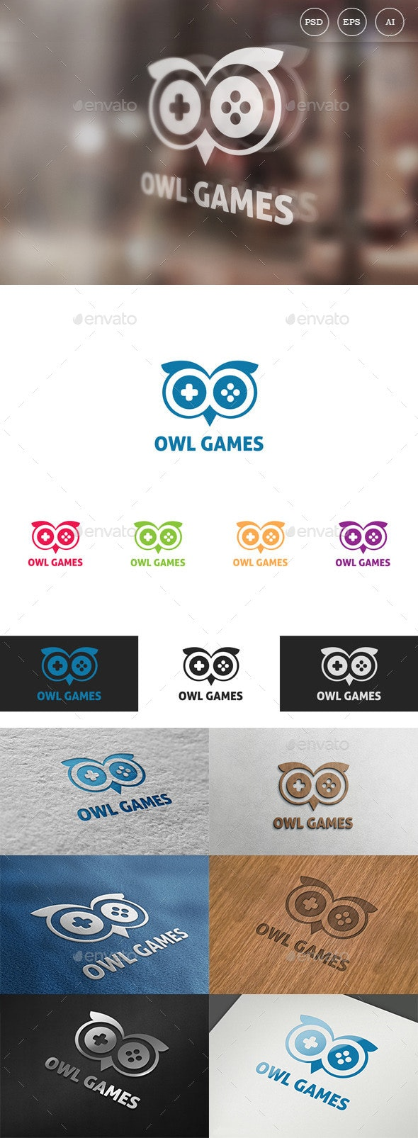 Owl Games Logo - Animals Logo Templates