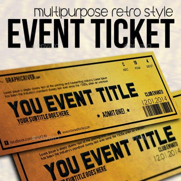 Multipurpose Golden Event Ticket