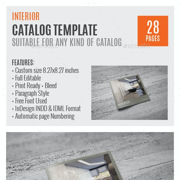 Interior Square Indesign Catalog Template HP003