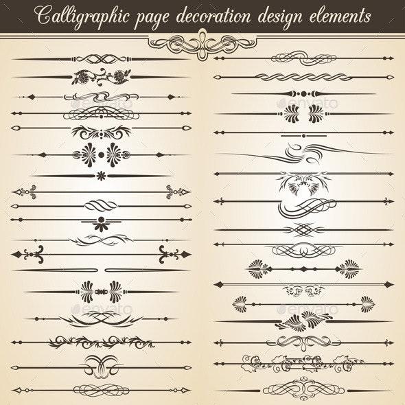 Calligraphic Vintage Page Decoration Design  - Web Elements Vectors