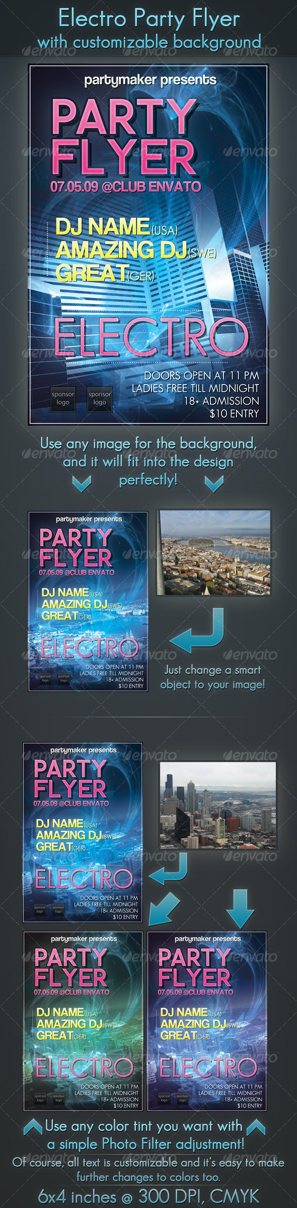 Electro Party Flyer with Customizable Background - Clubs & Parties Events