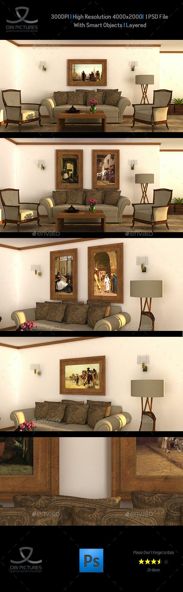 Art Wall Mockup - Product Mock-Ups Graphics