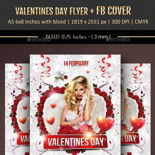 Valentines Day Flyer + Facebook Cover