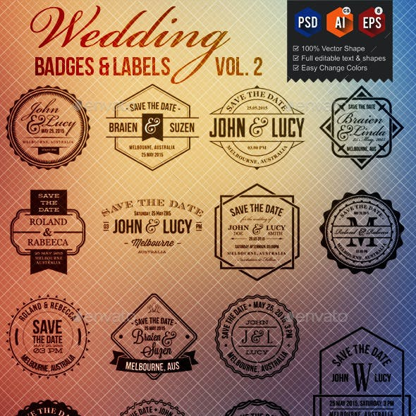 15 Wedding Badge Labels v2