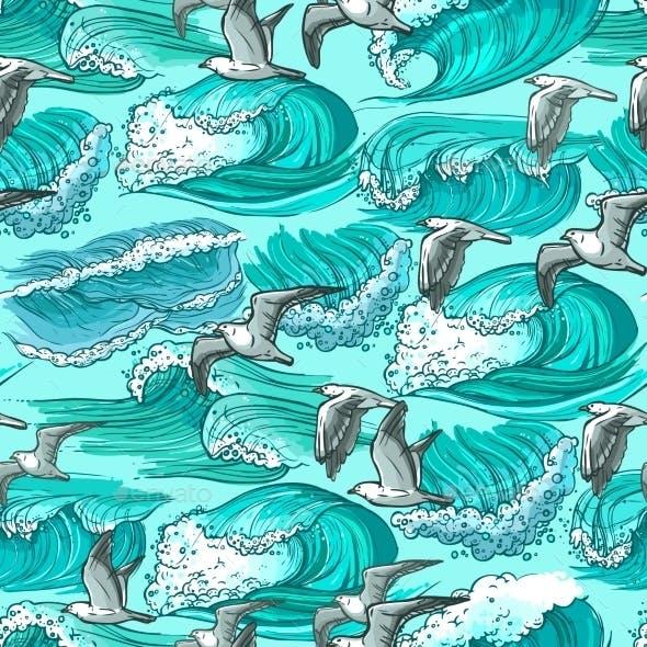 Sea Waves Seamless Pattern
