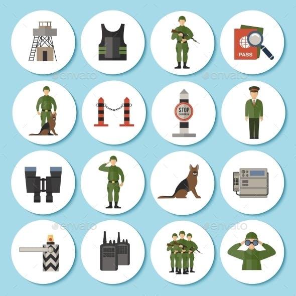 Border Guard Icon Flat