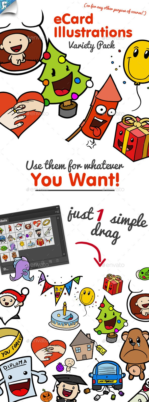 eCard Illustrations - Variety Pack - Miscellaneous Characters