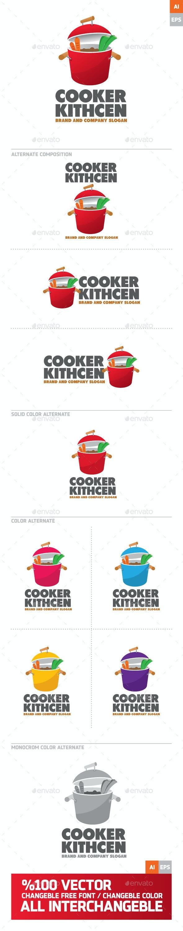 Cooker Kitchen Logo - Food Logo Templates