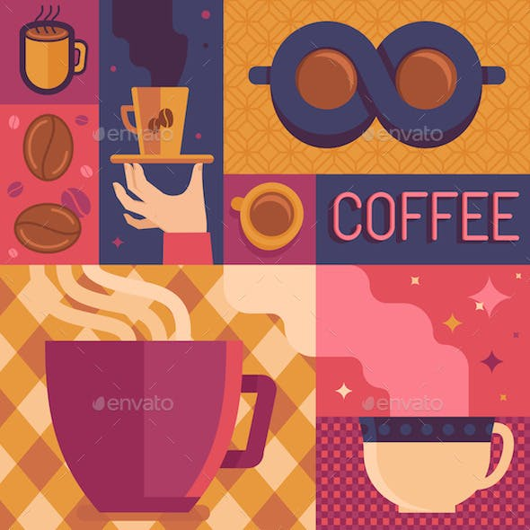 Coffee Poster Template in Flat Retro Style