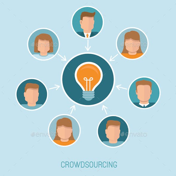 Crowdsourcing Concept in Flat Style