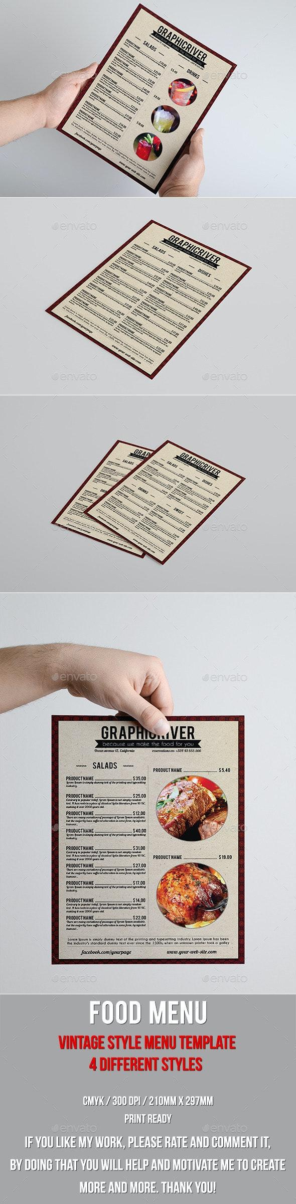 Vintage food menu - Food Menus Print Templates