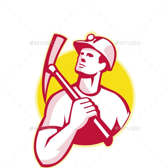 Coal Miner with Pick Axe Looking Up Retro