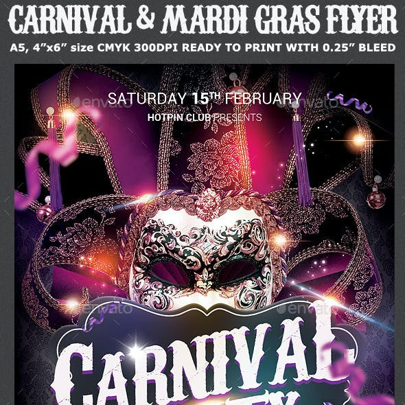 Carnival & Mardi Gras Party Flyer