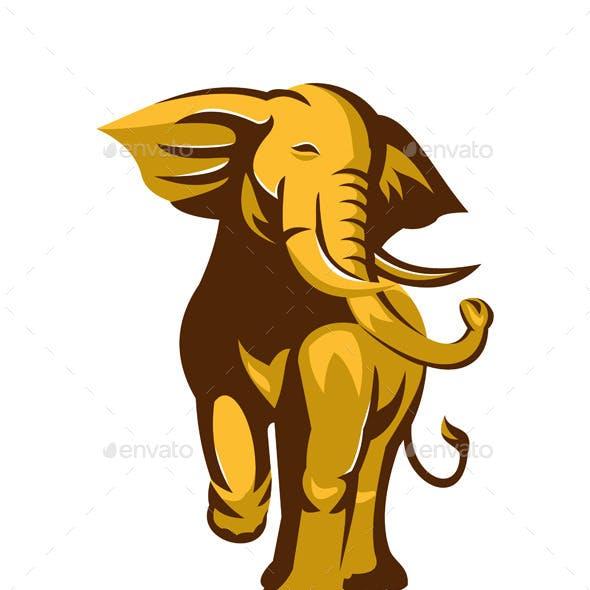 Retro African Bull Elephant Charging
