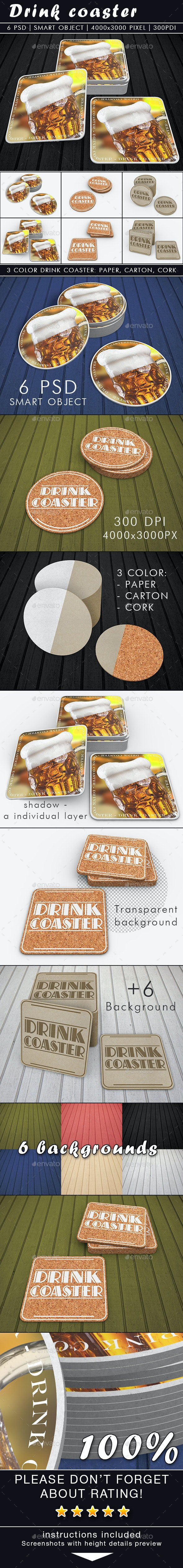 Drink Coaster Mock-Up - Miscellaneous Print