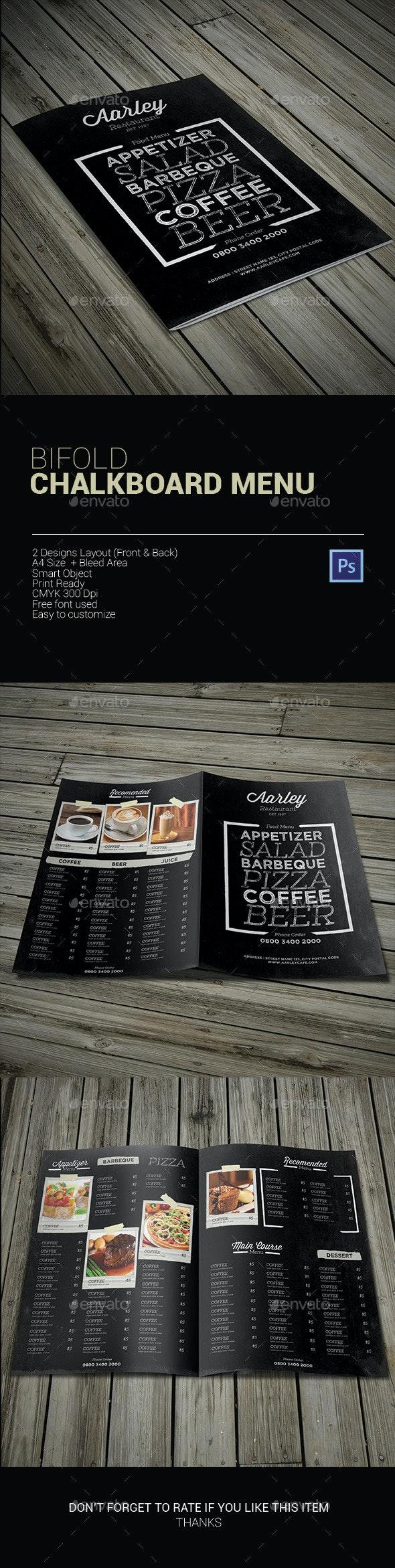 Bifold Chalkboard Menu - Food Menus Print Templates