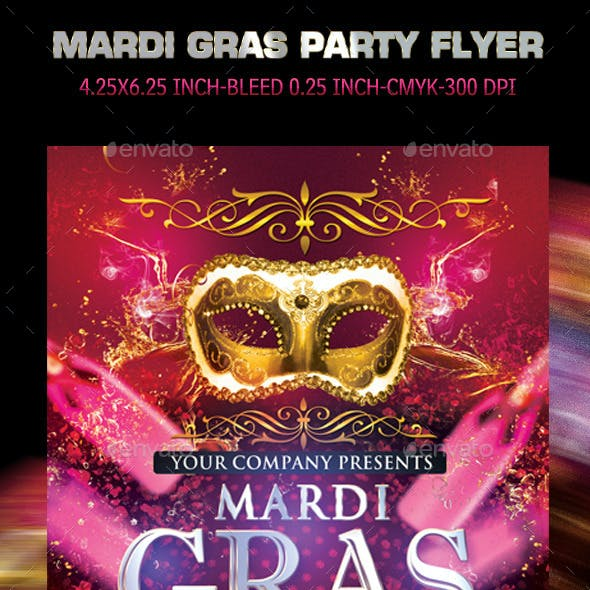 Mardi Gras Carnival Party Flyer