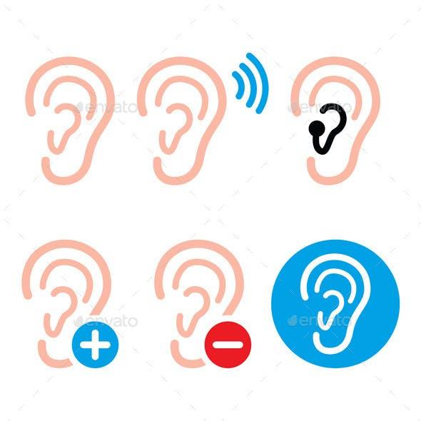 Ear Hearing Aid, Deaf Person - Health Problem Icon