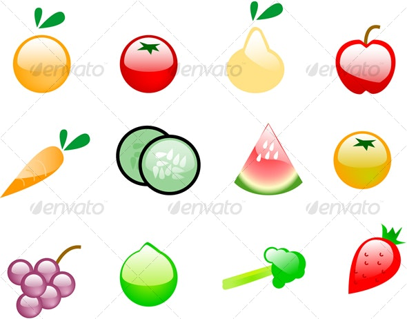 Plastic fruits and vegetables - Food Objects