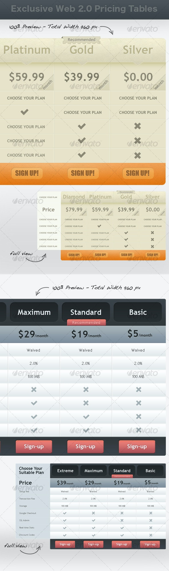 Exclusive Web 2.0 Pricing Tables - Tables Web Elements