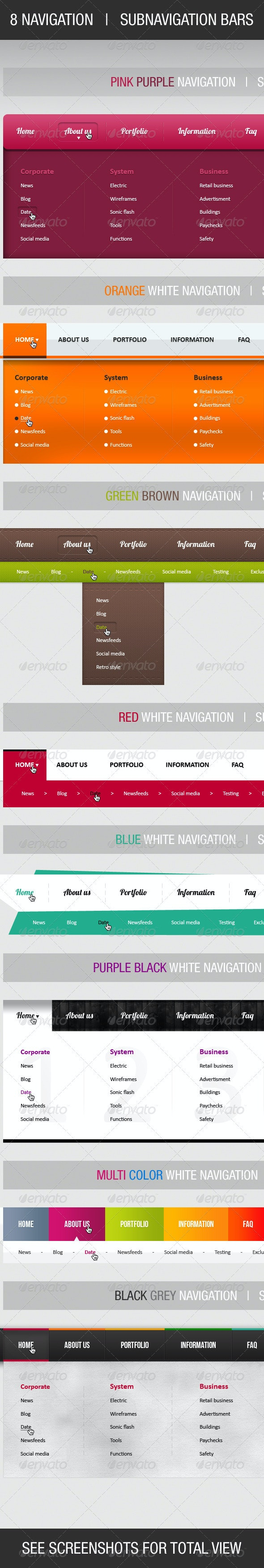 8 Colorfull Navigation & Subnavigation Bars - Navigation Bars Web Elements