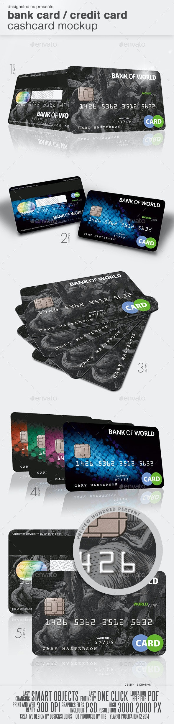 Bank Card / Credit Card CashCard Mock-Up - Product Mock-Ups Graphics