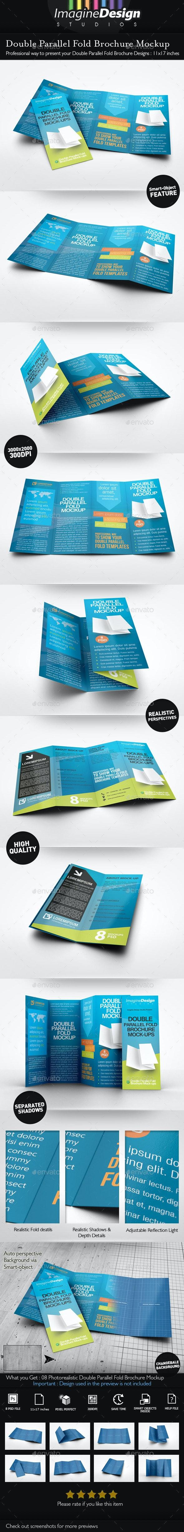Double Parallel Fold Brochure Mockup - Brochures Print