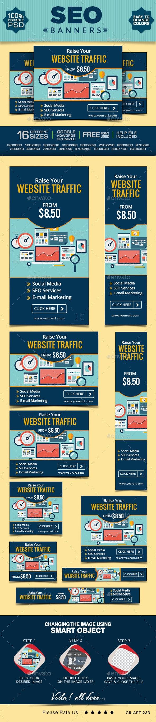 SEO Web Banner Set - Banners & Ads Web Elements